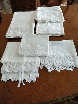 Job Lot Of Antique Lace And Crochet Decorated  Cotton Pillowcases And Bolster...