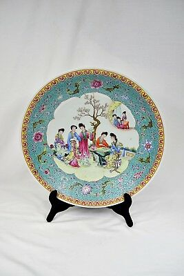 40cm Huge Antique Chinese Famille Rose Porcelain Display Plate Republican Marked