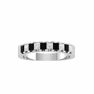 1.00 Ct Princess Cut Cubic Zirconia Wedding Band Ring In 925 Sterling Silver