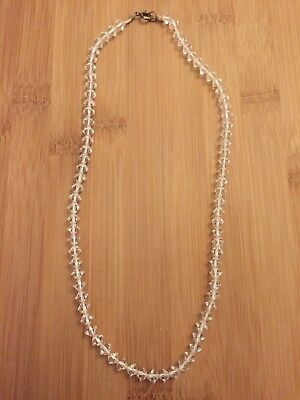 Stunning Antique 1920s Vintage Crystal Faceted Glass Clear Cut Necklace Czech GC