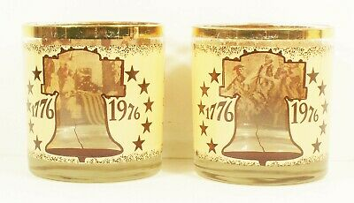 1776-1976 Centennial Old Fashion Glasses Gold Trim Great gift-100% eBay rating