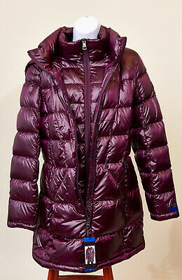 11d88364733b8 ANDREW MARC LADIES' Packable Long Down Jacket Shiny Plum Large NWT ...