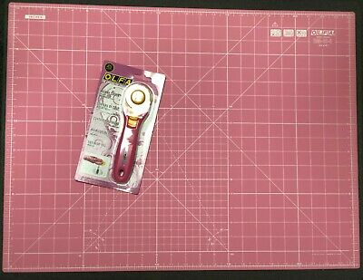 Set Of Olfa Pink Rotary Cutter + Double Sided Pink Cutting Mat 24'' x 18'' Olfa