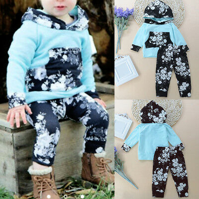 LX_ 2Pcs Toddler Baby Boys Girls Outfit Flower Print Long Sleeve Hoodies Pants
