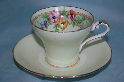 Vint Aynsley bone china corset shaped cup & saucer-Pale Green/Yelloy w/Pansies