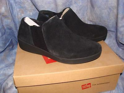 92edab33a82da New W box Womens Fitflop Size 10 Superchelsea Slip Ons Black Suede~Free Us