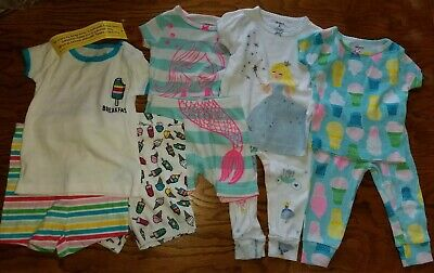 6 Month Pajamas 9 piece lot baby girl Childrens Place Carters NWT & some EUC