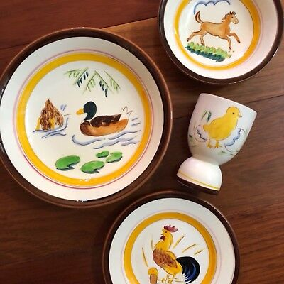 EXTREMELY RARE 4Pc Stangl ~COUNTRY LIFE~ 2 DUCKS, Colt & CHICK EGG ~1950's Farm~