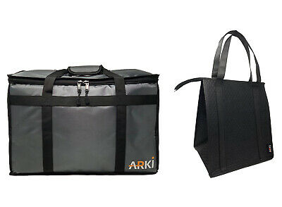 Insulated Food Delivery Bag- Large Bundled with Insulated Grocery Tote
