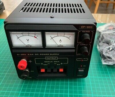 Manson EP-603 Bench Variable Power Supply 0-30V 0-2.5A plus Fixed 5V and 12V O/