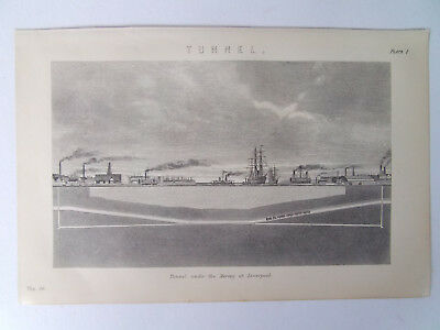 Mersey Tunnel Antique Print Dated 1880