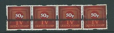 GB Fiscal/Revenues Stamps TV Licence Training Stamps 50p Strip of 4 r2909s