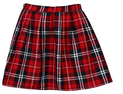 Girls School Uniform Red Pleated Tartan Skirt - Size XL