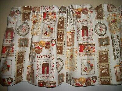 Vintage Antique dish Kitchen Farmhouse fabric home window topper curtain Valance