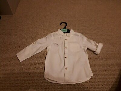 Baby Boys white shirt 9-12 months from M&S adjustable sleeves BNWT