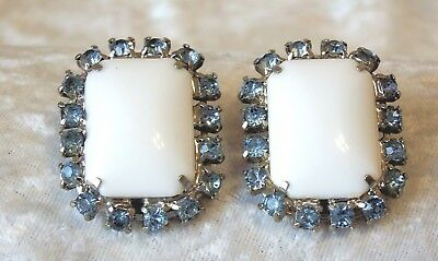 Vintage Milk White Bead & Blue Rhinestone Clip Back Earrings