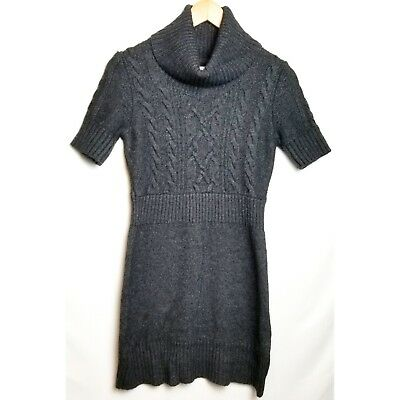 3558a01a62 Ann Taylor LOFT small gray turtleneck short sleeve cable knit sweater dress