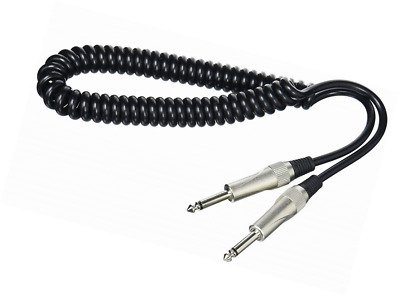 Deluxe Coiled Guitar Lead Cable Jack to Jack, 3m  - Black, Stagg
