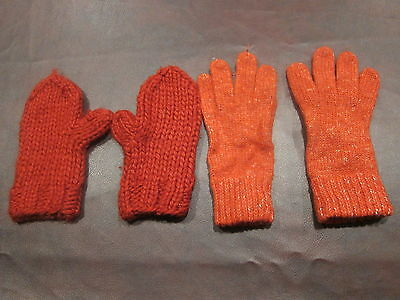 LOT 2 Pairs Knit Red Ladies Winter Gloves Mittens Chunky New York & Company
