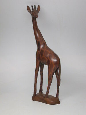 "Vintage Hand Carved GIRAFFE STATUE Figurine South Africa Carved Wood 13"" Painted"