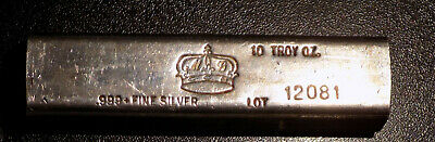 California Crown Mint CCM 10 troy oz .999 Fine Silver kit kat style bar
