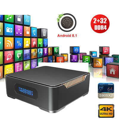 4K Android 8.1 Oreo 2+32G Quad Core Smart TV BOX DUAL WIFI SSD/HDD Media Player