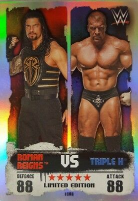 WWE SLAM ATTAX 2016 TAKEOVER LIMITED EDITION Card ROMAN REIGNS Vs TRIPLE H  LEMB