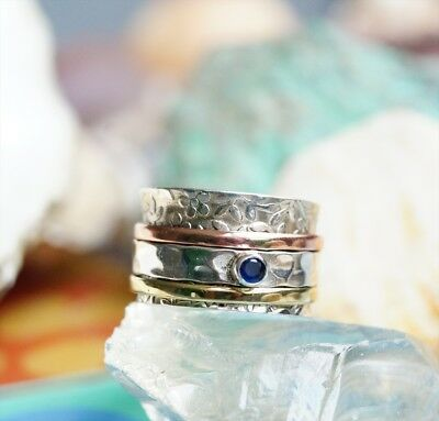 Rotary Ring Silver Wide 57 62 63 Sapphire Blue Silver Ring Pretty Bronze Brass