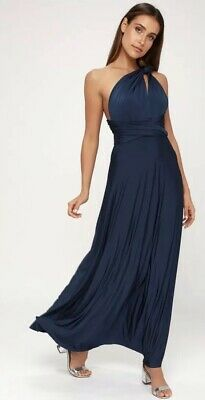 9436f87f905 NWT! LULU s Tricks of the Trade Convertible Maxi DRESS Gown Navy Blue Small