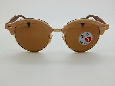 2777acb83f Ray Ban RB 4246-M 1179 57 CLUBROUND WOOD on Brown Polarized 51mm Sunglasses