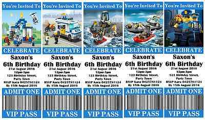 LEGO CITY POLICE Personalised Ticket Style Birthday Invitations