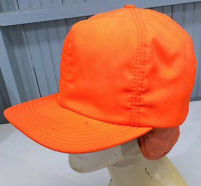 adfb407bb65 Safety Orange Vintage Mens Trapper Hunting Cap Hat Medium Made in USA