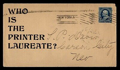 DR WHO 1901? NY MACHINE CANCEL TO CARSON CITY NV ADVERTISING  d92950