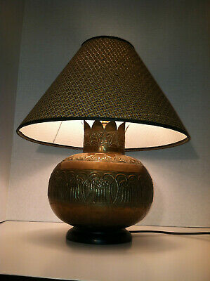 Vintage Brass Electric Table Lamp - Ornate Embossed Pattern with Lampshade