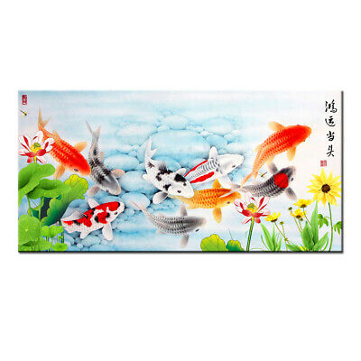 Home Decor Art Wall HD print oil painting Feng Shui Fish Koi Painting on Canvas