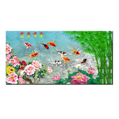 Home Art Wall Decor HD print oil painting Feng Shui Fish Koi Painting on Canvas