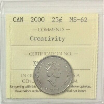 "2000 Canada Millennium Series 25 Cents ""Creativity"" ICCS Certified MS 62  #35487"