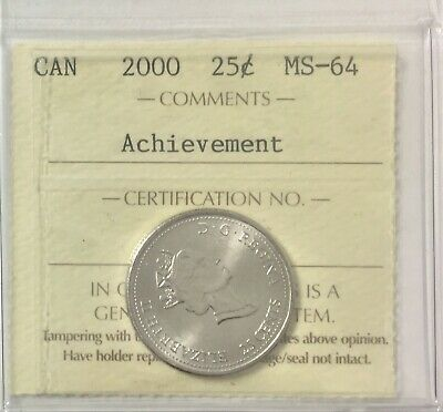 "2000 Canada Millennium Series 25 Cents ""Achievement"" ICCS Certified MS64  #35489"