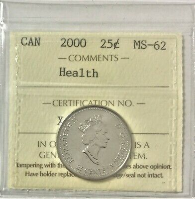 "2000 Canada Millennium Series 25 Cents ""Health"" ICCS Certified MS 62 #35490"