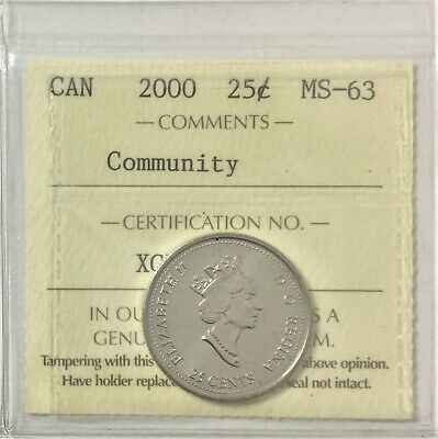 "2000 Canada Millennium Series 25 Cents "" Community"" ICCS Certified MS 63  #35491"