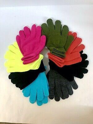 Childrens Kids Gloves Girls Boys Stretchy Knitted Winter Warm 8 Pairs NEW