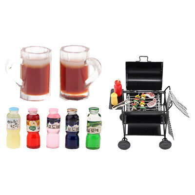 MagiDeal 1/12 Dollhouse Miniature Barbecue Furniture Oven BBQ Grill Set Toy