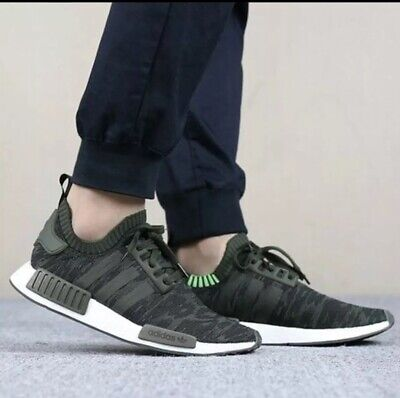 new style 28d67 a739b ADIDAS NMD R1 PK Primeknit CQ2445 men's running Shoes Night Cargo / Green