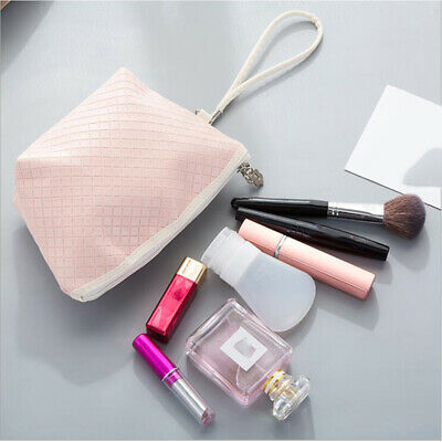 Simple Ladies Leather Make Up Bag Toiletry Case Travel Washing Organiser Bags BS