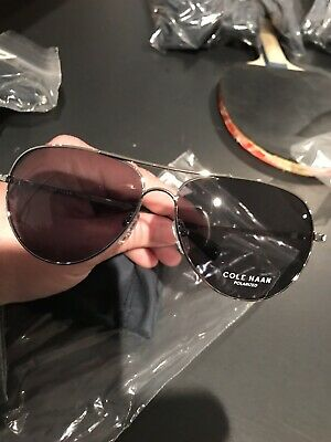 d816468b8163 New Cole Haan Unisex Polarized Silver Frame Black Aviator Sunglasses -  CH7037