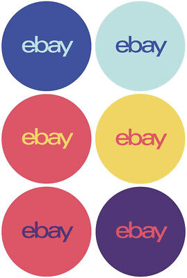 """6-Color eBay-Branded Round 100 Sticker Multi-Pack 3"""" x 3"""" Promote your business"""