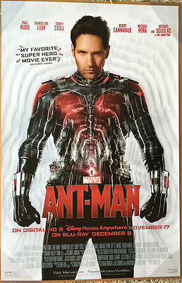 ANT-MAN DVD MOVIE POSTER 1 Sided ORIGINAL 26x40 PAUL RUDD EVANGELINE LILLY