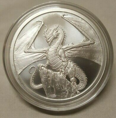 1oz Welsh Dragon .999 Fine Silver Round Coin 2nd Coin in World of Dragon Series