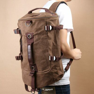 Chic Canvas Man Backpack Rucksack Travel Outdoor Bag Duffle Large Coffee  R1BO