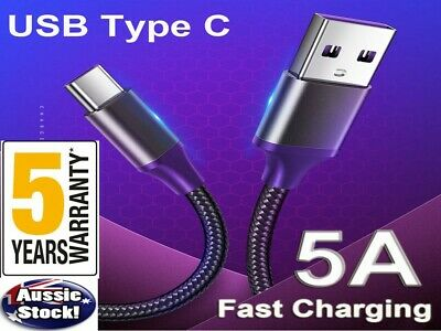 5A Type C USB-C Charger Fast Charging Sync Data Cable For Samsung S9 S8 HTC LG